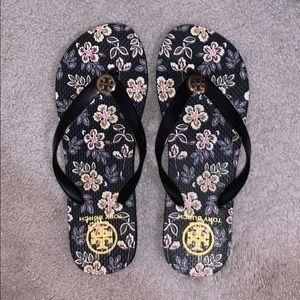 Floral Tory Burch Flip Flops